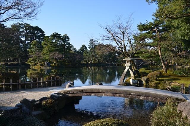 金沢の兼六園の庭園