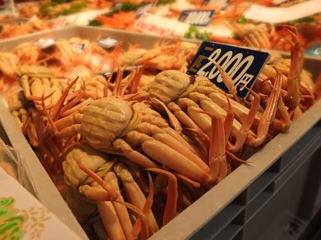 近江町市場で売られている蟹
