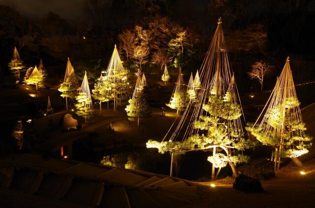 金沢城公園の玉泉院丸庭園のライトアップ
