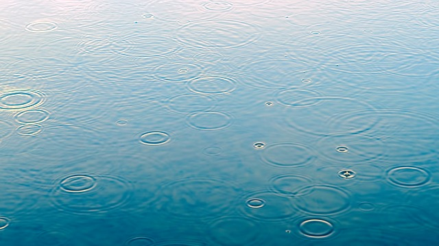 水たまりと雨の粒