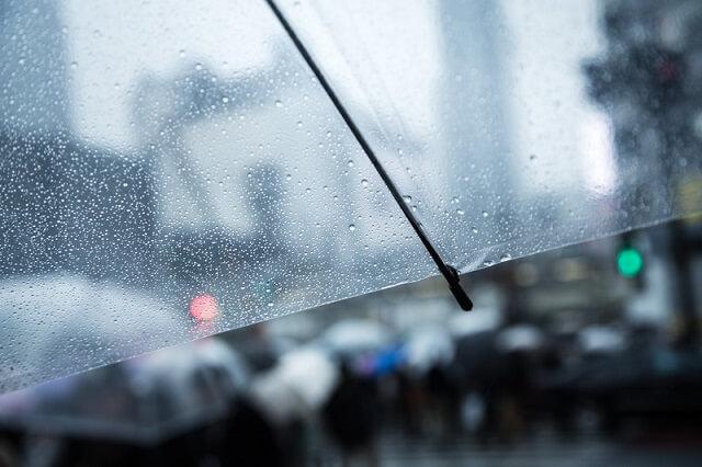 ビニール傘と雨の水滴