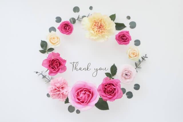 Thankyouの文字と花