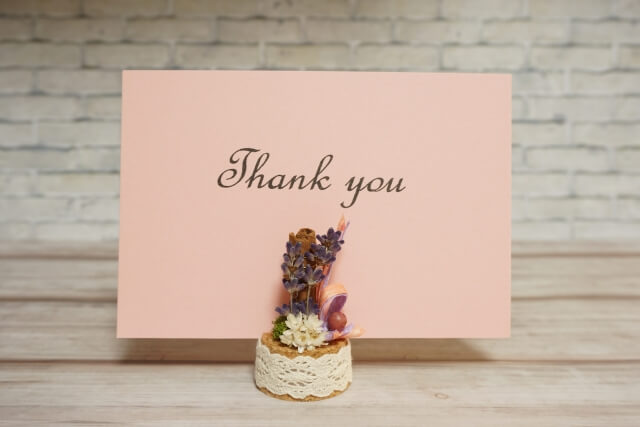 Thank Youと書かれたメッセージカード